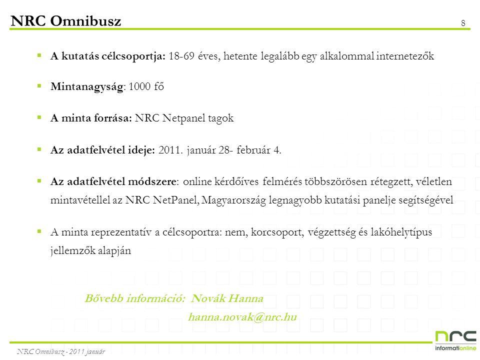 NRC Omnibusz - 2011 január 8 NRC Omnibusz  A kutatás célcsoportja: 18-69 éves, hetente legalább egy alkalommal internetezők  Mintanagyság: 1000 fő  A minta forrása: NRC Netpanel tagok  Az adatfelvétel ideje: 2011.