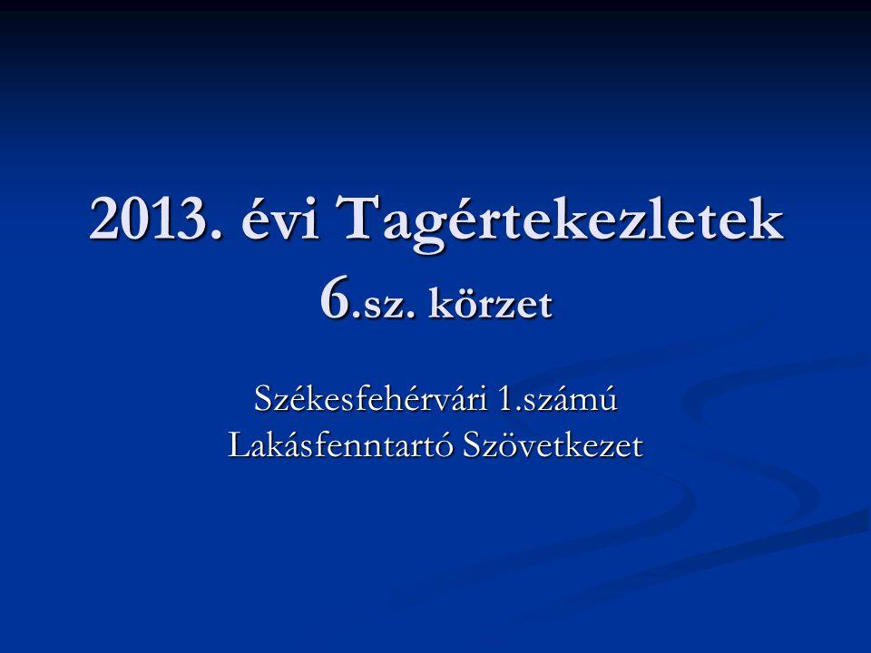2013. évi Tagértekezletek 6.sz. körzet Székesfehérvári 1.számú Lakásfenntartó Szövetkezet