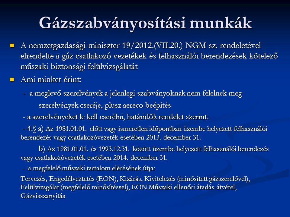 Gázszabványosítási munkák  A nemzetgazdasági miniszter 19/2012.(VII.20.) NGM sz. rendeletével elrendelte a gáz csatlakozó vezetékek és felhasználói b
