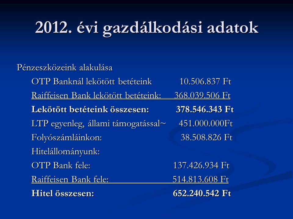 2012. évi gazdálkodási adatok Pénzeszközeink alakulása OTP Banknál lekötött betéteink 10.506.837 Ft Raiffeisen Bank lekötött betéteink: 368.039.506 Ft