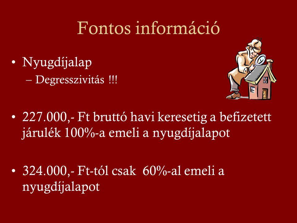 Fontos információ •Nyugdíjalap –Degresszivitás !!.