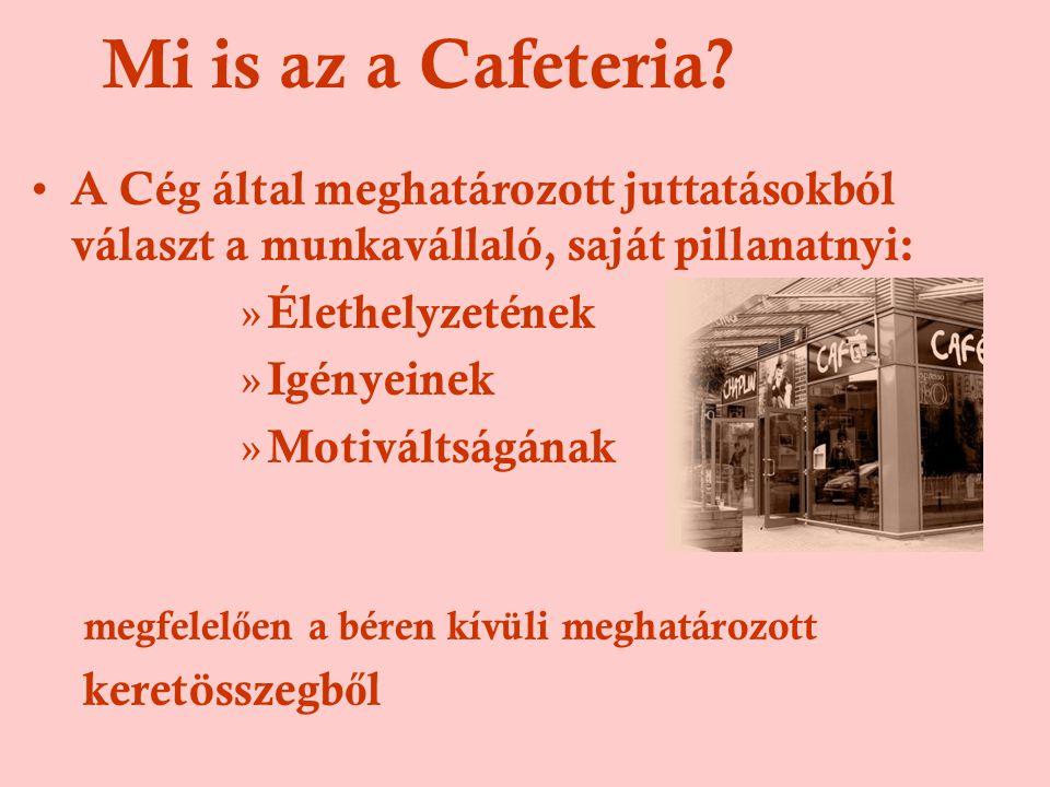 Cafeteria története •Az 1970-es évek USA kutatások eredménye : béren kívüli juttatás •Magyarországon: 1995-96-os években •Cégek 15-20%-a, él vele jelenleg és ugyan ennyi tervezi a bevezetését.