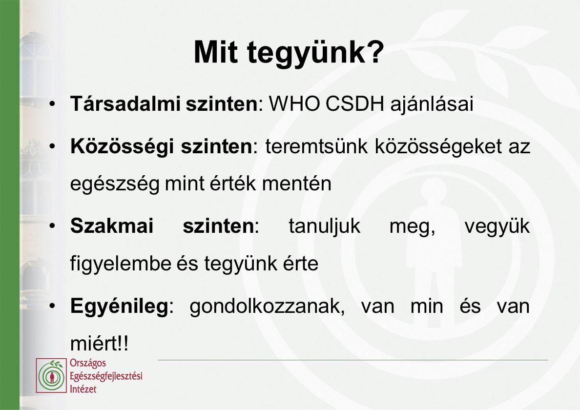 Mit tegyünk? •Társadalmi szinten: WHO CSDH ajánlásai •Közösségi szinten: teremtsünk közösségeket az egészség mint érték mentén •Szakmai szinten: tanul