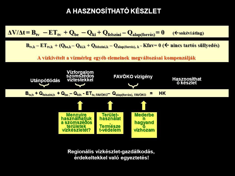 Az ökoszisztémáktól függő területi korlátozások (Vízgyűjtő-gazdálkodási Terv!): egy adott körzeten belül a lehető legnagyobb + összes, ill.
