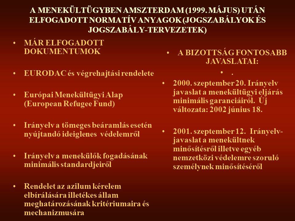 EURÓPAI MENEKÜLTÜGYI ALAP 2000 szeptember 28 :Tanács döntés (2000/596/EC •Cél: A menekültek és más elűzött személyek fogadásával és a fogadás következményeivel járó erőfeszítések támogatása és bátorítása •Eszköz: 2000 január 1 és 2004 december 31 között 216 millió Euro (kb 57 milliárd HUF) •Kedvezményezettek: a valamely tagállam területén tartózkodó (residing): –Konvenciós menekültek –egyéb, nemzetközi védelmet élvező személyek –a fentiekért folyamodók (a menekülők), –az ideiglenes védelemben részesülők –az ideiglenes védelem lehetséges címzettjei - akikről éppen döntenek