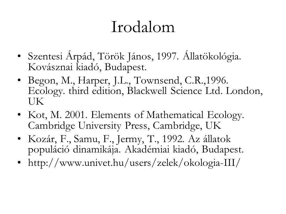 Irodalom •Szentesi Árpád, Török János, 1997. Állatökológia. Kovásznai kiadó, Budapest. •Begon, M., Harper, J.L., Townsend, C.R.,1996. Ecology. third e