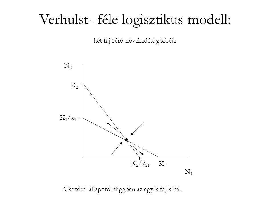 Verhulst- féle logisztikus modell: két faj zéró növekedési görbéje K1K1 K 2 /α 21 K2K2 K 1 /α 12 N1N1 N2N2 A kezdeti állapotól függően az egyik faj ki