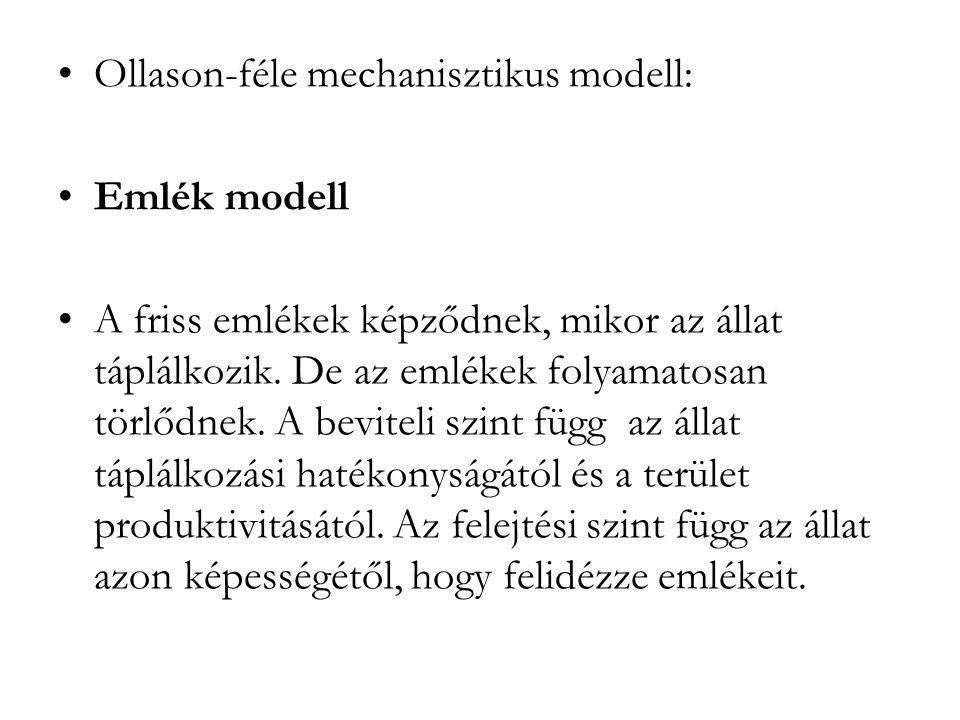 •Ollason-féle mechanisztikus modell: •Emlék modell •A friss emlékek képződnek, mikor az állat táplálkozik. De az emlékek folyamatosan törlődnek. A bev