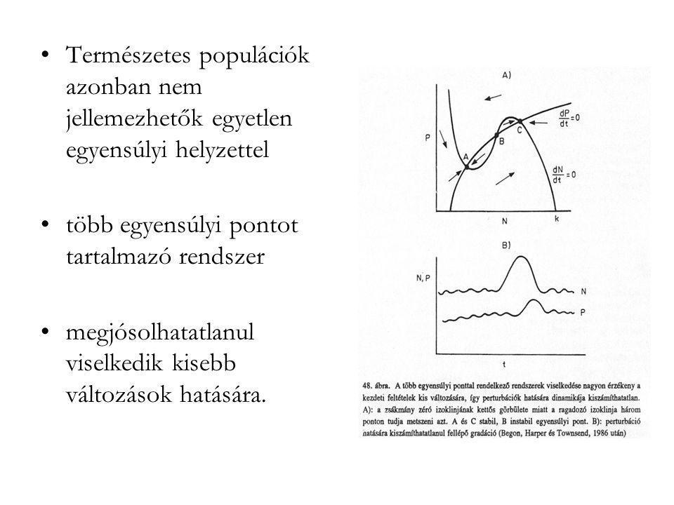 •Természetes populációk azonban nem jellemezhetők egyetlen egyensúlyi helyzettel •több egyensúlyi pontot tartalmazó rendszer •megjósolhatatlanul visel
