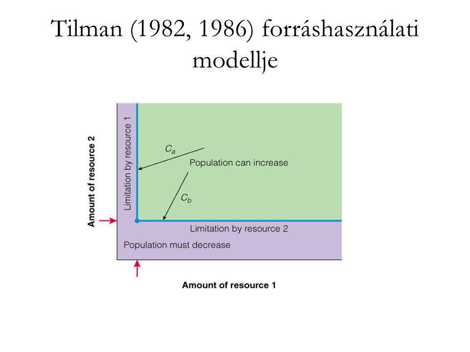 A zsákmány önkorlátozó logisztikus növekedést követ: dN/dt= r max N-(r/K)N 2 -aPN A két populáció zéró növekedési görbéje: r max -(r max /K)N-aP=0 -q+faN=0 A zsákmány önkorlátozó viselkedése (egyedsűrűségfüggő növekedése) a modellben stabil egyensúlyra vezet.
