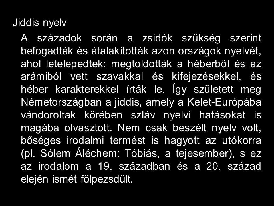 Jiddis nyelv A századok során a zsidók szükség szerint befogadták és átalakították azon országok nyelvét, ahol letelepedtek: megtoldották a héberből é