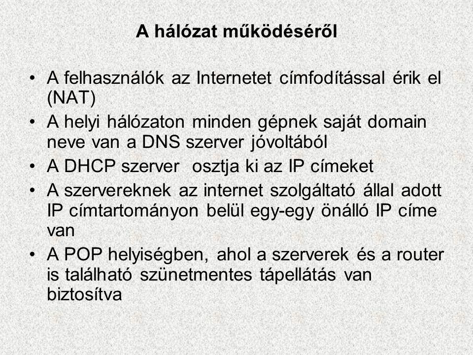 A hálózat működéséről •A felhasználók az Internetet címfodítással érik el (NAT) •A helyi hálózaton minden gépnek saját domain neve van a DNS szerver j