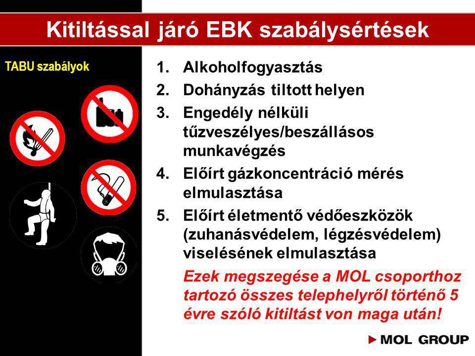1.Alkoholfogyasztás 2.Dohányzás tiltott helyen 3.Engedély nélküli tűzveszélyes/beszállásos munkavégzés 4.Előírt gázkoncentráció mérés elmulasztása 5.E