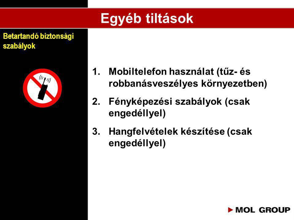 1.Mobiltelefon használat (tűz- és robbanásveszélyes környezetben) 2.Fényképezési szabályok (csak engedéllyel) 3.Hangfelvételek készítése (csak engedél