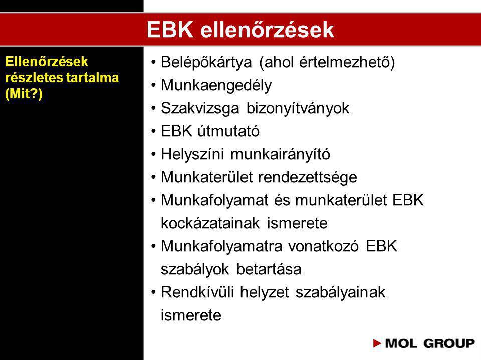 EBK ellenőrzések • Belépőkártya (ahol értelmezhető) • Munkaengedély • Szakvizsga bizonyítványok • EBK útmutató • Helyszíni munkairányító • Munkaterüle