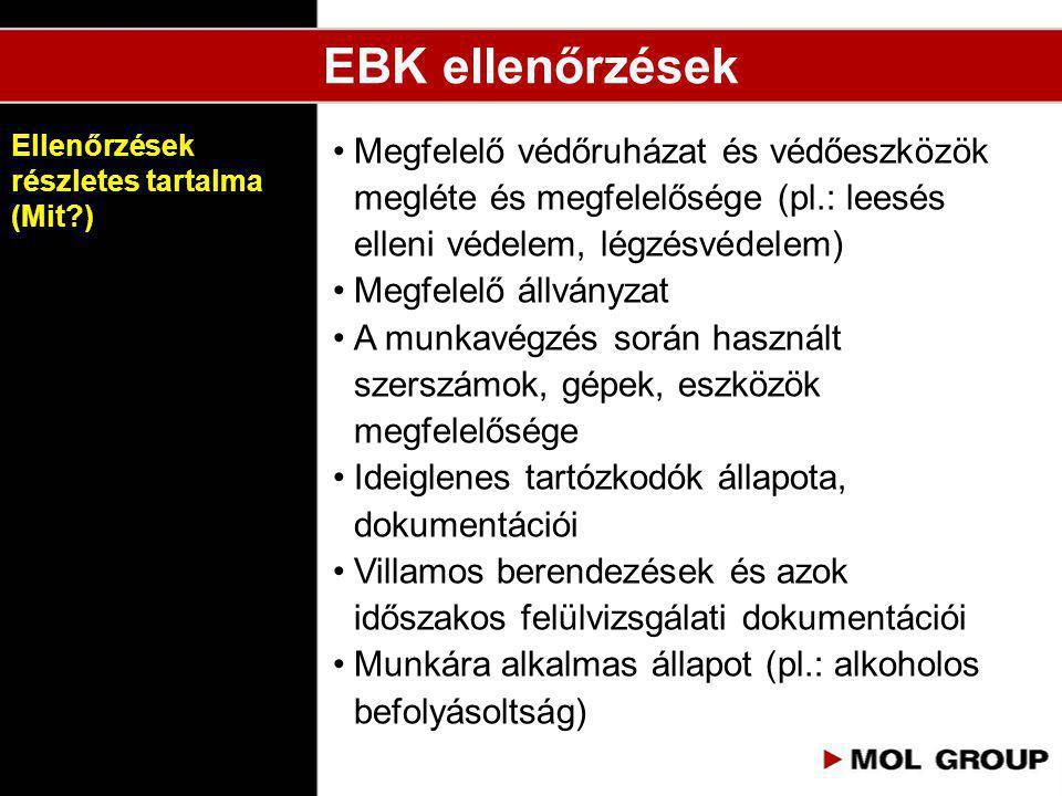 EBK ellenőrzések •Megfelelő védőruházat és védőeszközök megléte és megfelelősége (pl.: leesés elleni védelem, légzésvédelem) •Megfelelő állványzat •A