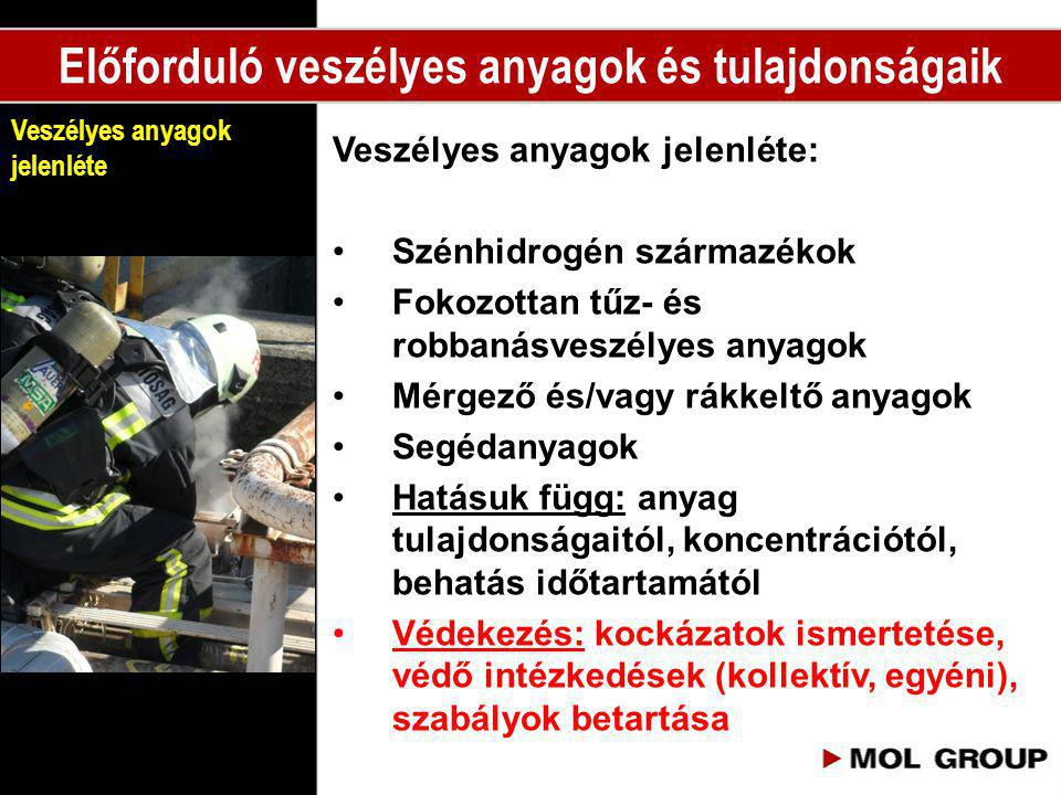 Veszélyes anyagok jelenléte: •Szénhidrogén származékok •Fokozottan tűz- és robbanásveszélyes anyagok •Mérgező és/vagy rákkeltő anyagok •Segédanyagok •