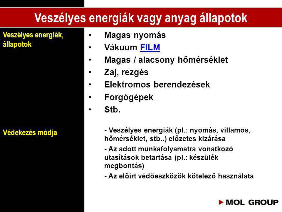 •Magas nyomás •Vákuum FILMFILM •Magas / alacsony hőmérséklet •Zaj, rezgés •Elektromos berendezések •Forgógépek •Stb. - Veszélyes energiák (pl.: nyomás