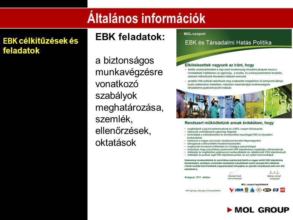 EBK célkitűzések és feladatok EBK feladatok: a biztonságos munkavégzésre vonatkozó szabályok meghatározása, szemlék, ellenőrzések, oktatások Általános