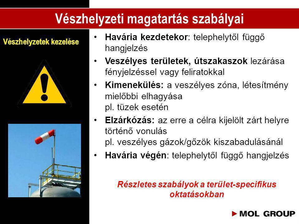 •Havária kezdetekor: telephelytől függő hangjelzés •Veszélyes területek, útszakaszok lezárása fényjelzéssel vagy feliratokkal •Kimenekülés: a veszélye