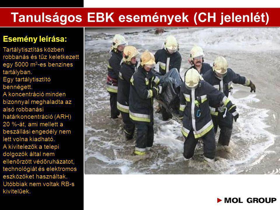 Tanulságos EBK események (CH jelenlét) Tartálytisztítás közben robbanás és tűz keletkezett egy 5000 m 3 -es benzines tartályban. Egy tartálytisztító b