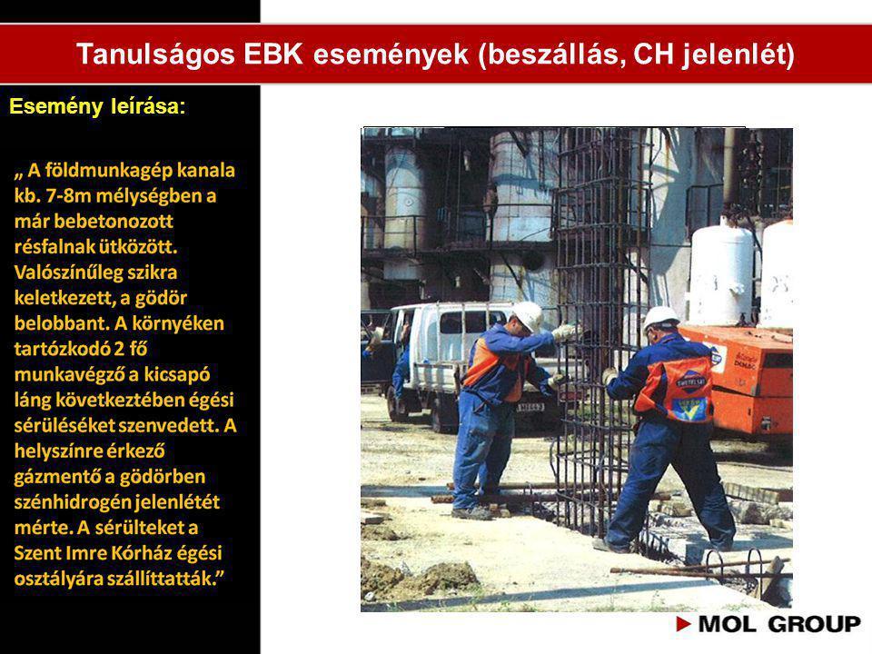 """Tanulságos EBK események (beszállás, CH jelenlét) """"Betemetés veszélye (dúcolatlan vagy rézsű nélküli árok), Berobbanás veszélye (személyi gázérzékelő"""