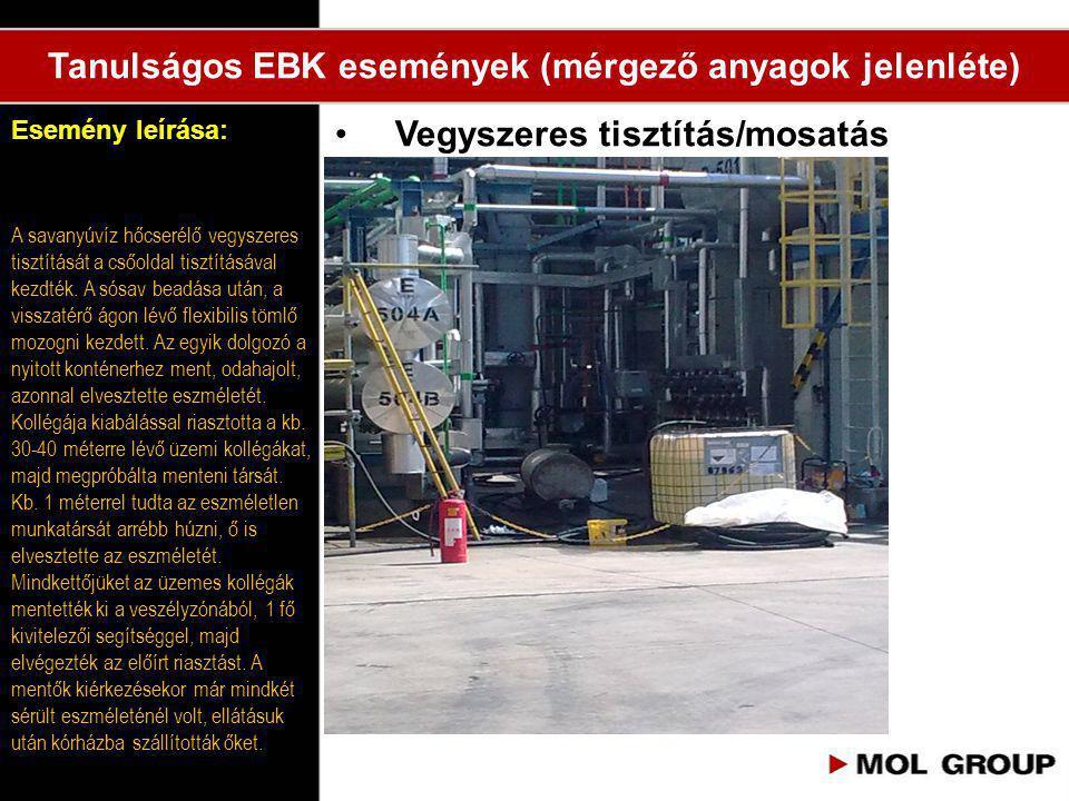 •Vegyszeres tisztítás/mosatás Esemény leírása: Tanulságos EBK események (mérgező anyagok jelenléte) A savanyúvíz hőcserélő vegyszeres tisztítását a cs