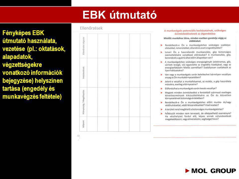 Fényképes EBK útmutató használata, vezetése (pl.: oktatások, alapadatok, végzettségekre vonatkozó információk bejegyzése) helyszínen tartása (engedély