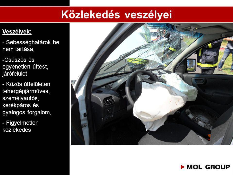 Közlekedés veszélyei Veszélyek: - Sebességhatárok be nem tartása, -Csúszós és egyenetlen úttest, járófelület - Közös útfelületen tehergépjárműves, sze