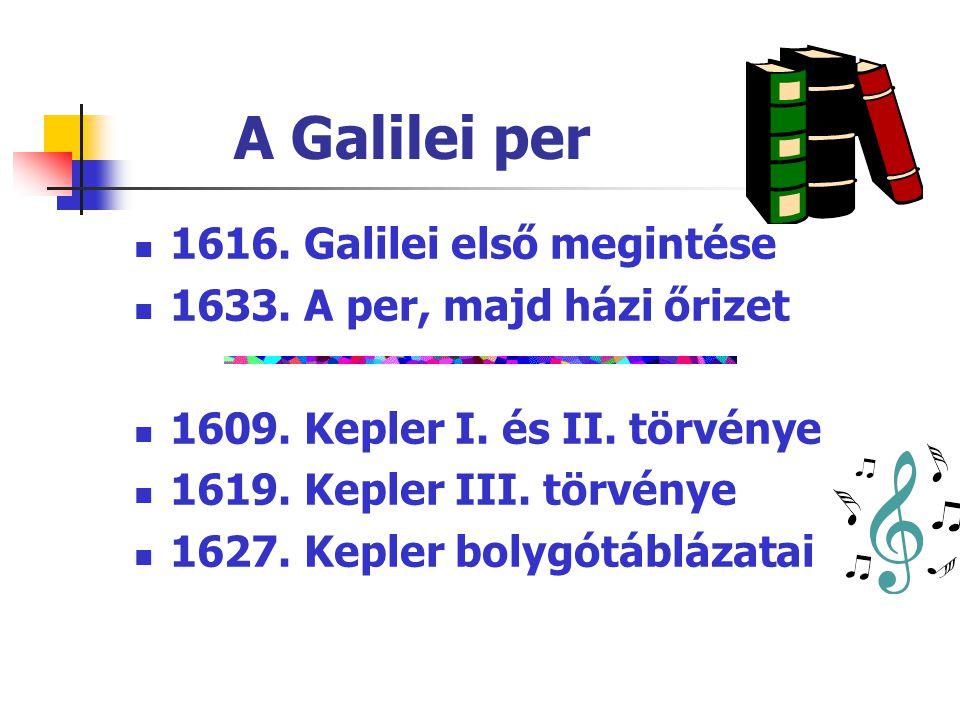 A Galilei per  1616. Galilei első megintése  1633. A per, majd házi őrizet  1609. Kepler I. és II. törvénye  1619. Kepler III. törvénye  1627. Ke
