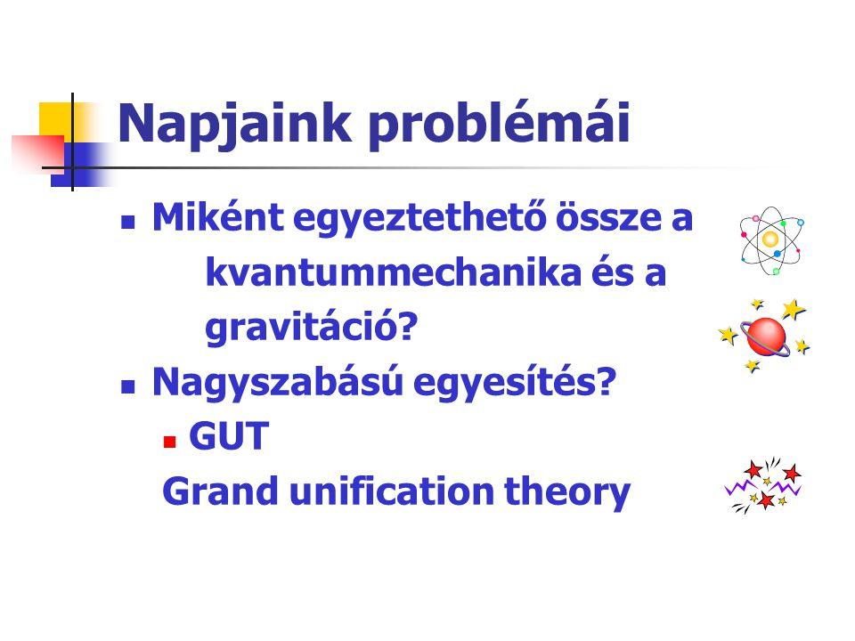 Napjaink problémái  Miként egyeztethető össze a kvantummechanika és a gravitáció?  Nagyszabású egyesítés?  GUT Grand unification theory