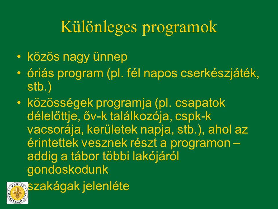 Különleges programok •közös nagy ünnep •óriás program (pl. fél napos cserkészjáték, stb.) •közösségek programja (pl. csapatok délelőttje, őv-k találko