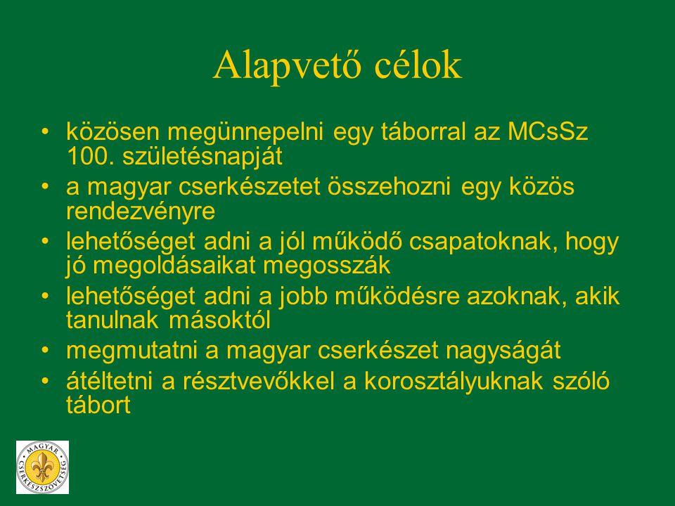 Alapvető célok •közösen megünnepelni egy táborral az MCsSz 100. születésnapját •a magyar cserkészetet összehozni egy közös rendezvényre •lehetőséget a