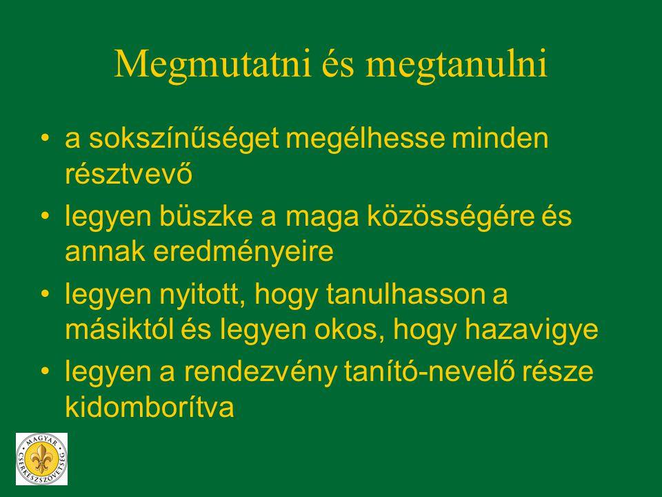 Nagyságunk •sok résztvevő sok helyről •legyünk büszkék a magyar cserkészetre és annak eredményeire •legyen olyan a rendezvény, ami mindenkit megszólít és érdeklődővé tesz •legyen olyan a rendezvény, hogy megmutassa, mit ad a cserkészet az egyén, a helyi közösség, az ország és a nemzet gazdagságához