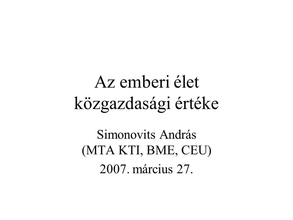 Az emberi élet közgazdasági értéke Simonovits András (MTA KTI, BME, CEU) 2007. március 27.