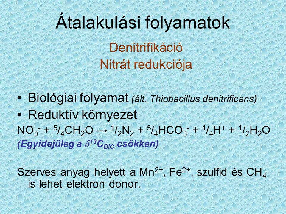 Átalakulási folyamatok Denitrifikáció Nitrát redukciója •Biológiai folyamat (ált.