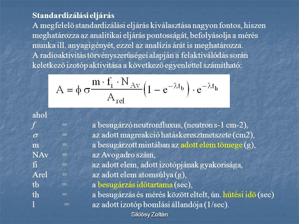 Siklósy Zoltán Standardizálási eljárás A megfelelõ standardizálási eljárás kiválasztása nagyon fontos, hiszen meghatározza az analitikai eljárás ponto