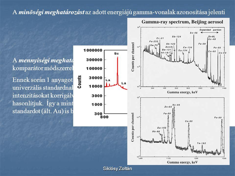 Siklósy Zoltán A minõségi meghatározást az adott energiájú gamma-vonalak azonosítása jelenti A mennyiségi meghatározást komparátor módszerrel végezzük