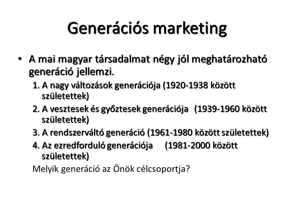 Generációs marketing • Meg kell ismerni a lakossági csoportok, generációk hátterét, morális értékeiket, életmód jellemzőit, preferenciáit és a kommunikációt ehhez kell igazítani.