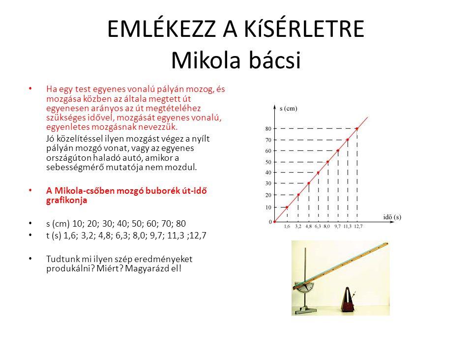 EGYENESVONALÚ EGYENLETES MOZGÁS (EEM) • Amikor a sebességmérő ugyanazt a sebességet mutatja (pld.