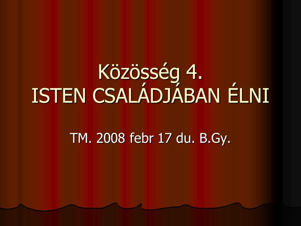 Közösség 4. ISTEN CSALÁDJÁBAN ÉLNI TM. 2008 febr 17 du. B.Gy.