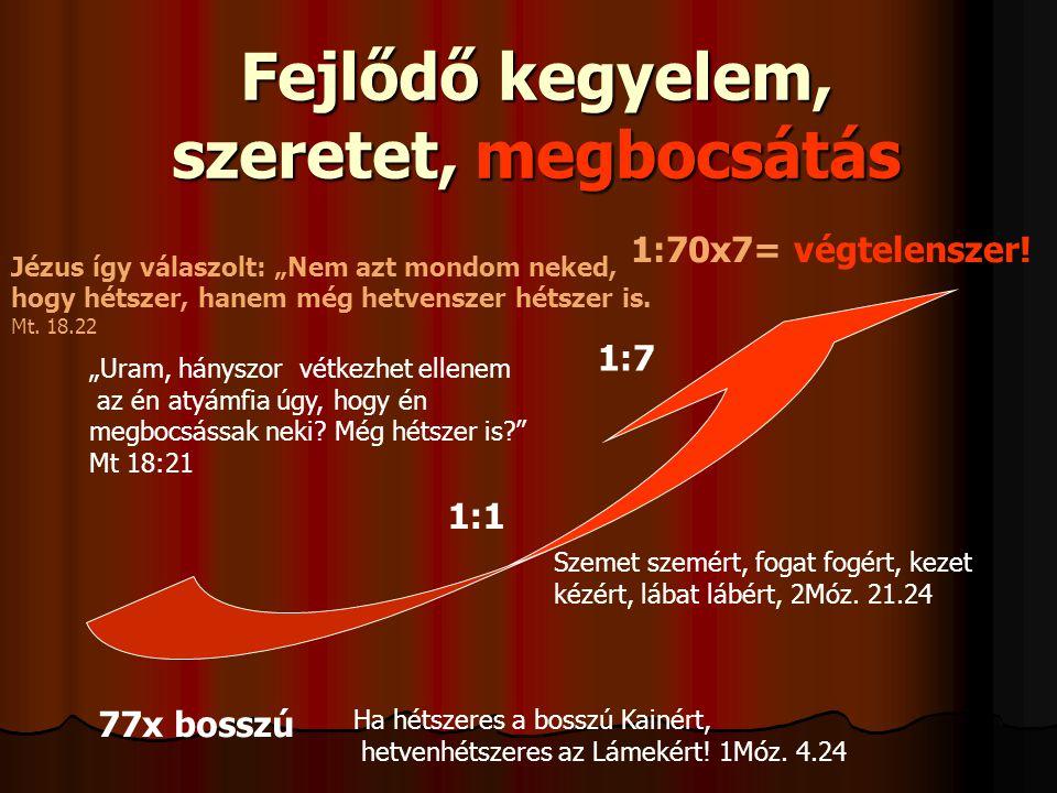 Fejlődő kegyelem, szeretet, megbocsátás 77x bosszú 1:1 1:7 1:70x7= végtelenszer.