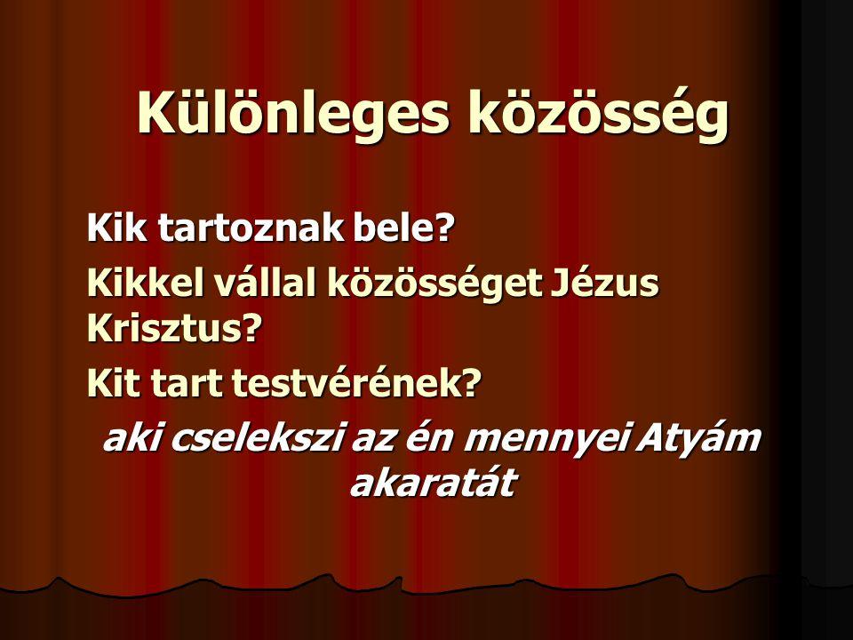 Különleges közösség Kik tartoznak bele? Kikkel vállal közösséget Jézus Krisztus? Kit tart testvérének? aki cselekszi az én mennyei Atyám akaratát