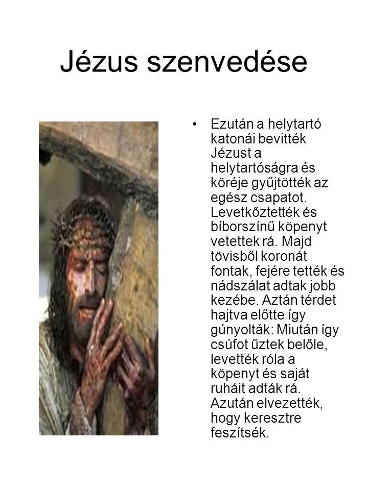 Jézus szenvedése •Ezután a helytartó katonái bevitték Jézust a helytartóságra és köréje gyűjtötték az egész csapatot. Levetkőztették és bíborszínű köp