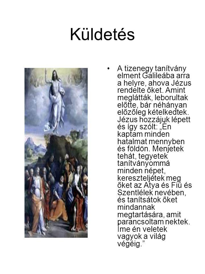 Küldetés •A tizenegy tanítvány elment Galileába arra a helyre, ahova Jézus rendelte őket. Amint meglátták, leborultak előtte, bár néhányan előzőleg ké