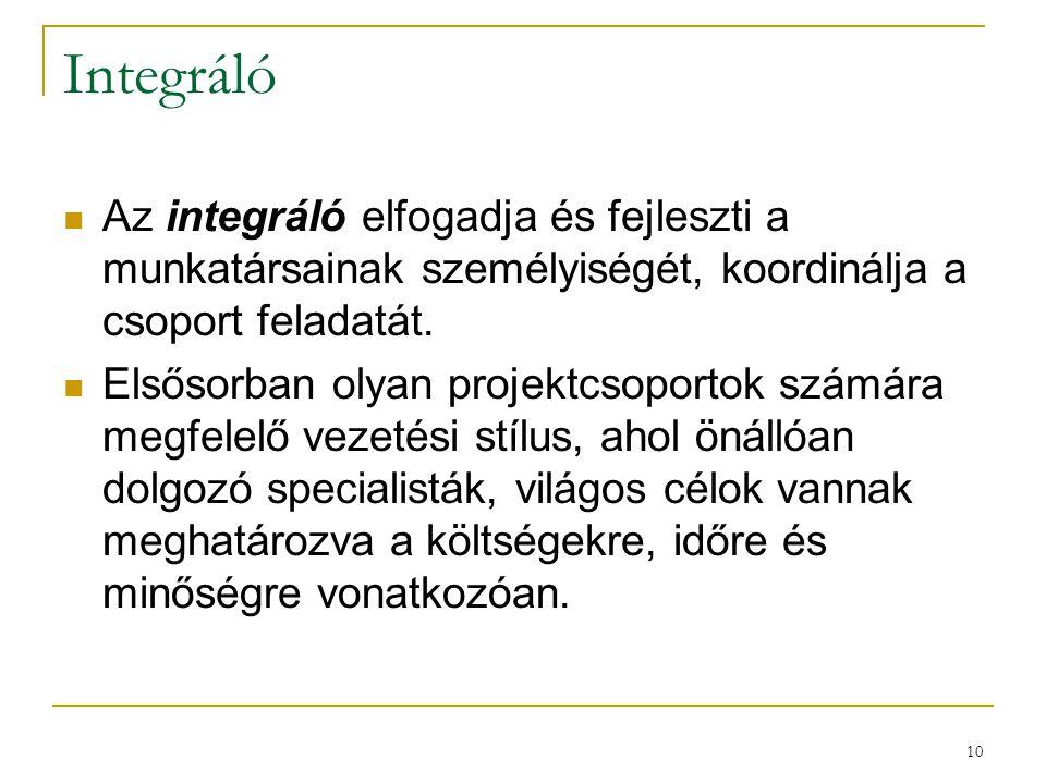 10 Integráló  Az integráló elfogadja és fejleszti a munkatársainak személyiségét, koordinálja a csoport feladatát.  Elsősorban olyan projektcsoporto