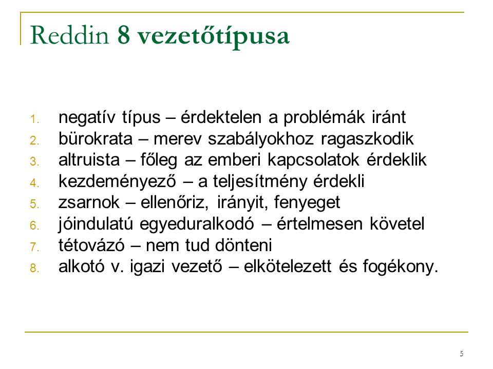 5 Reddin 8 vezetőtípusa 1. negatív típus – érdektelen a problémák iránt 2. bürokrata – merev szabályokhoz ragaszkodik 3. altruista – főleg az emberi k