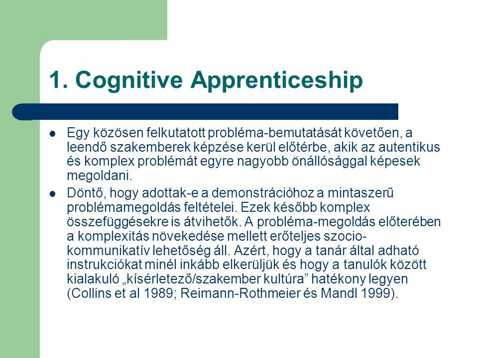 1. Cognitive Apprenticeship  Egy közösen felkutatott probléma-bemutatását követően, a leendő szakemberek képzése kerül előtérbe, akik az autentikus é