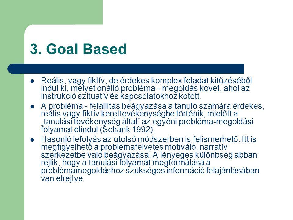 3. Goal Based  Reális, vagy fiktív, de érdekes komplex feladat kitűzéséből indul ki, melyet önálló probléma - megoldás követ, ahol az instrukció szit