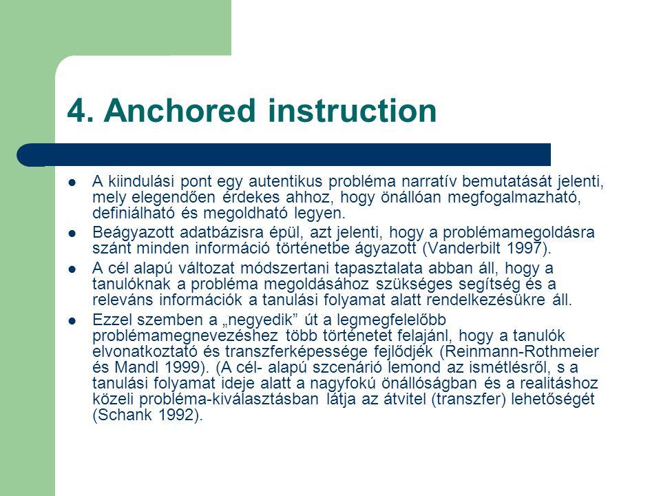 4. Anchored instruction  A kiindulási pont egy autentikus probléma narratív bemutatását jelenti, mely elegendően érdekes ahhoz, hogy önállóan megfoga